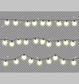 christmas glowing lights garlands with colored vector image vector image