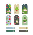 christmas tags cute collection labels with funny vector image vector image