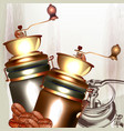 coffee mills with coffee grains for design vector image vector image