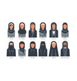 collection muslim traditional hijab type models vector image vector image