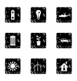 Environment icons set grunge style vector image vector image