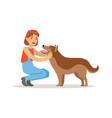 farmer woman with her dog vector image vector image