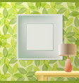 green leaf spring printed wallpaper with frame vector image