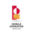 greenland mobile operator sim card with flag vector image vector image
