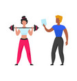 gym coach cartoon fitness trainer helps girl vector image