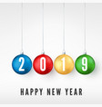 happy new year 2019 greeting card with colorful vector image