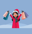 happy woman shopping on christmas sale vector image vector image