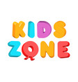 kids zone colorful letters playroom 3d logo vector image