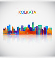 kolkata skyline silhouette in colorful geometric vector image vector image
