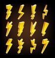 lightning sign set cartoon golden 3d vector image