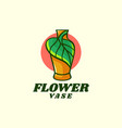 logo flower vase simple mascot style vector image