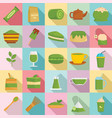 matcha tea icons set flat style vector image vector image