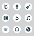 multimedia icons set with harp guitar speaker vector image vector image