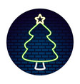 neon tree with star sticker merry christmas vector image vector image