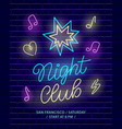 night club neon banner dark brick wall background vector image