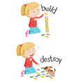 Opposite words for build and destroy