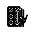 pills for allergy black glyph icon vector image vector image