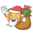 santa with gift apricot mascot cartoon style vector image vector image