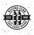 scuba diving club monochrome emblem vector image vector image