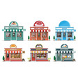 set detailed city shop buildings vector image