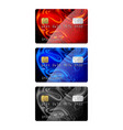set of credit cards in different color vector image