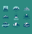 set of mountain exploration vintage emblems vector image vector image
