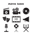 set of movie icons vector image vector image