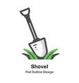 shovel outline flat vector image vector image