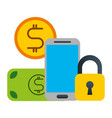 smartphone money banking vector image vector image