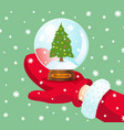 snowball with christmas tree vector image vector image