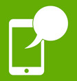 speech bubble on phone icon green vector image vector image