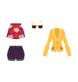 summer outfit - jacket skirt shorts sunglasses vector image vector image