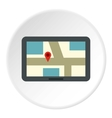 Tablet with map of area icon flat style vector image vector image