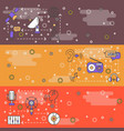 thin line art radio web banner template set vector image