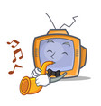 tv character cartoon object with trumpet vector image vector image