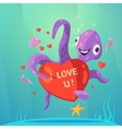 Valentine day retro cartoon vector image