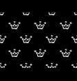 white crowns on black background seamless doodles vector image vector image