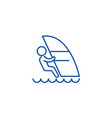 windsurfing line icon concept windsurfing flat vector image vector image