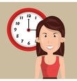woman clock cup coffee vector image