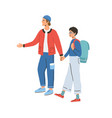 young happy modern couple during traveling man vector image vector image