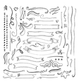 Ink engaved hand drawn decorative elements set vector image