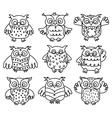 owl black outline vector image