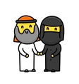 Muslim cartoon style cute standing family couple vector image