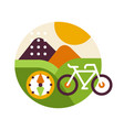 creative landscape with bicycle and compass in vector image