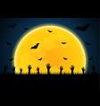 halloween zombie hand graveyard bat moon vector image
