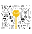 Hand drawn Happy birthday collection vector image