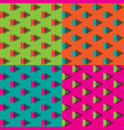 4 colors of seamless triangle memphis pattern vector image