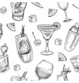 alcoholic cocktails pattern vector image vector image