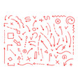 arrows drawing set painted by hand red lines vector image