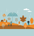 autumn bannerfall leaves people big umbrella vector image vector image